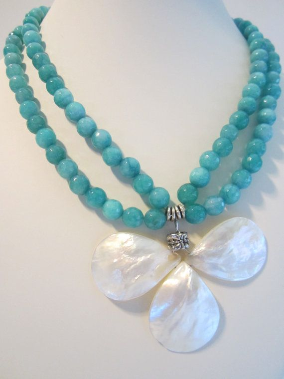 Aqua Agate double strand necklace with unique white shell