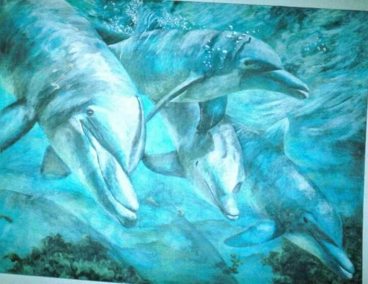 'Dolphins' Acrylic on canvas 2003