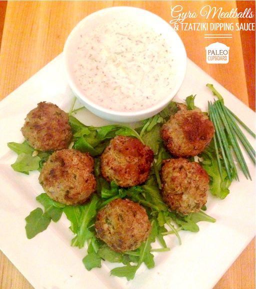 Paleo Gyro Meatball Recipe with Paleo Tzatziki Dipping Sauce - www.PaleoCupboard.com