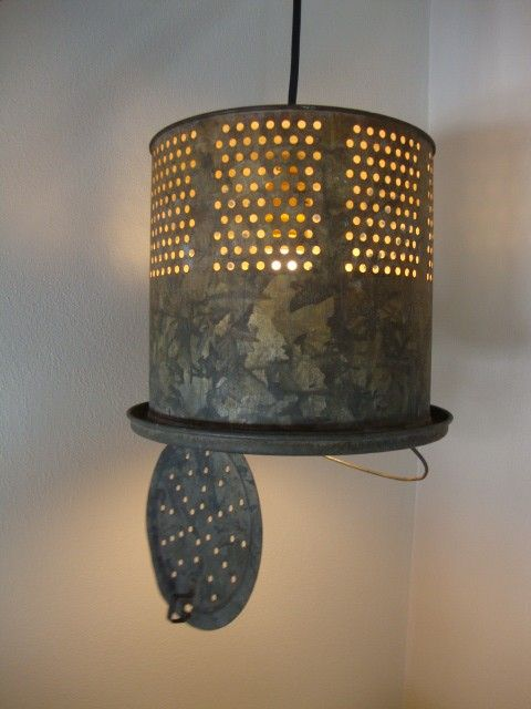 upcycled industrial look light- find the minnow buckets at Railroad Towne Antique Mall, 319 W. 3rd St, Grand Island, NE, 308-398-2222