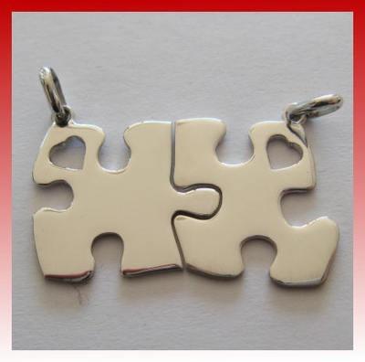 Ciondoli Puzzle con cuore traforato  Puzzle heart pendant with perforated
