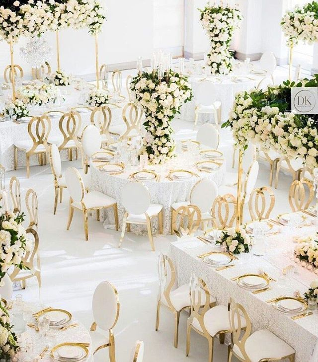 """6,458 Likes, 28 Comments - Wedding Dream (@weddingdream) on Instagram: """"All-white reception setup with a touch of gold shade? Why not! Elegant and divine at the same time,…"""""""