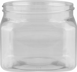 16 OZ 89MM 89-400 CLEAR SQUARE PET PINCH GRIP  | The clear plastic allows full view of the product inside while the square body and base makes this container space efficient for shipping and shelving. ALSO AVAILABLE IN 32 OZ, 48 OZ, 64 OZ, and 128 OZ (neck sizes vary). #plastic #jar #wide #mouth #square #pinch #grip #clear