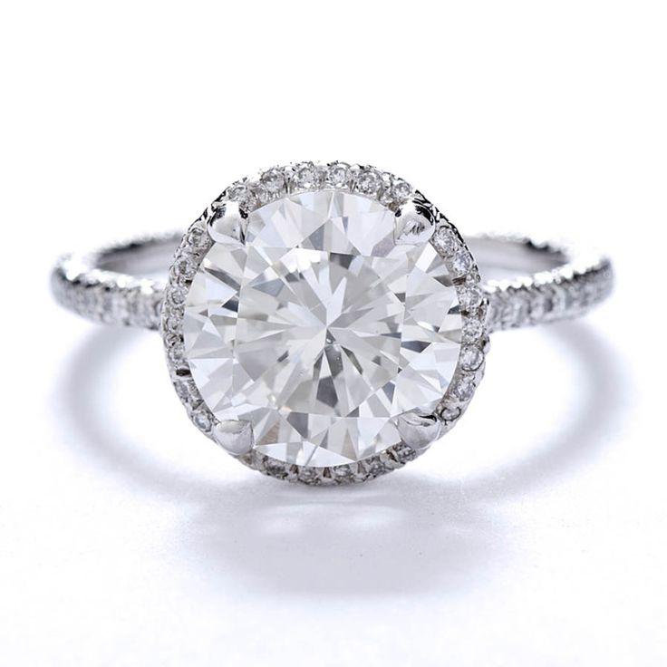 FRED LEIGHTON Micro Pave 3 carat Diamond Solitare Ring image 2