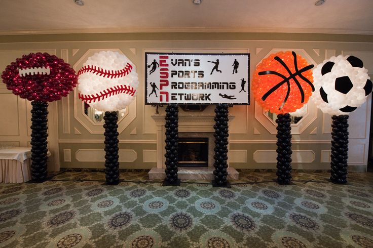 Sports Balls Balloon Sculptures with Custom Themed Backdrop