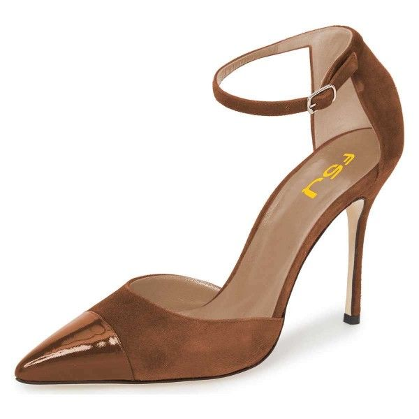 d8d40bb947b Brown Suede Pointy Toe Ankle Strap Heels Pumps in 2019
