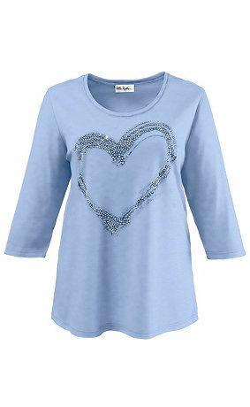 69757872 - shirt. Shirt met groot hartmotief van glittersteentjes aan de voorkant. Ronde hals, 3/4-mouwen. Type: regular. 100% katoen, kleur: zilvergrijs-mêlee van materiaal: 65% Polyester, 35% Viscose. Aan de maat aangepaste lengte ca. 72 - 82 cm.