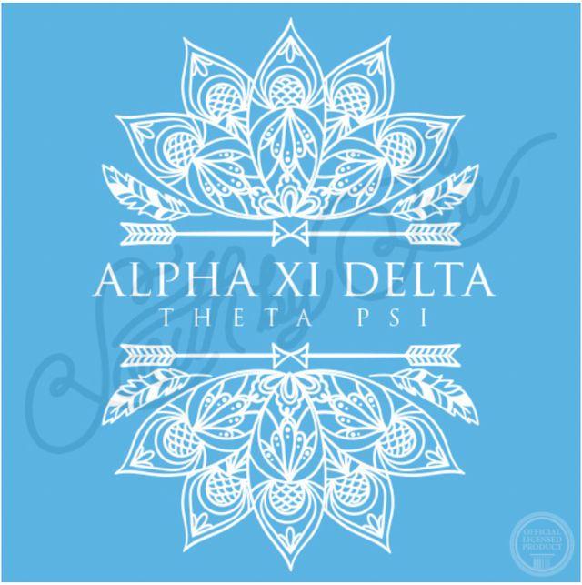 Alpha Xi Delta | AXiD | Tribal Design | Hand Drawn Mandala Design | Theta Psi | Sisterhood | Recruitment | Bid Day | South by Sea | Greek Tee Shirts | Greek Tank Tops | Custom Apparel Design | Custom Greek Apparel | Sorority Tee Shirts | Sorority Tanks | Sorority Shirt Designs