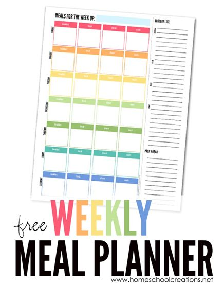 free weekly meal planner from Homeschool Creations - with room for 3 daily meals and snacks as well as shopping list and meal prep space