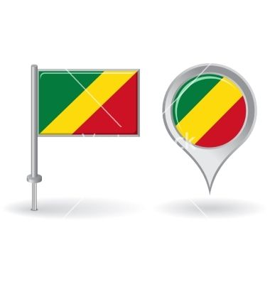 Congolese pin icon and map pointer flag vector