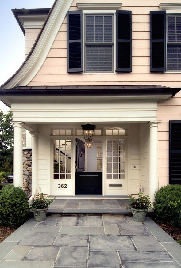 """""""The Next Big Exterior Paint Color Might Just Be Pink,"""" Architectural Digest (29 June 2017). Benjamin Moore's Queen Anne Pink, with shutters painted BM Essex Green. House by Brooks & Falotico Associates."""