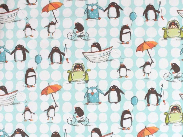 Cotton fabric happy penguin, off-white/turquoise