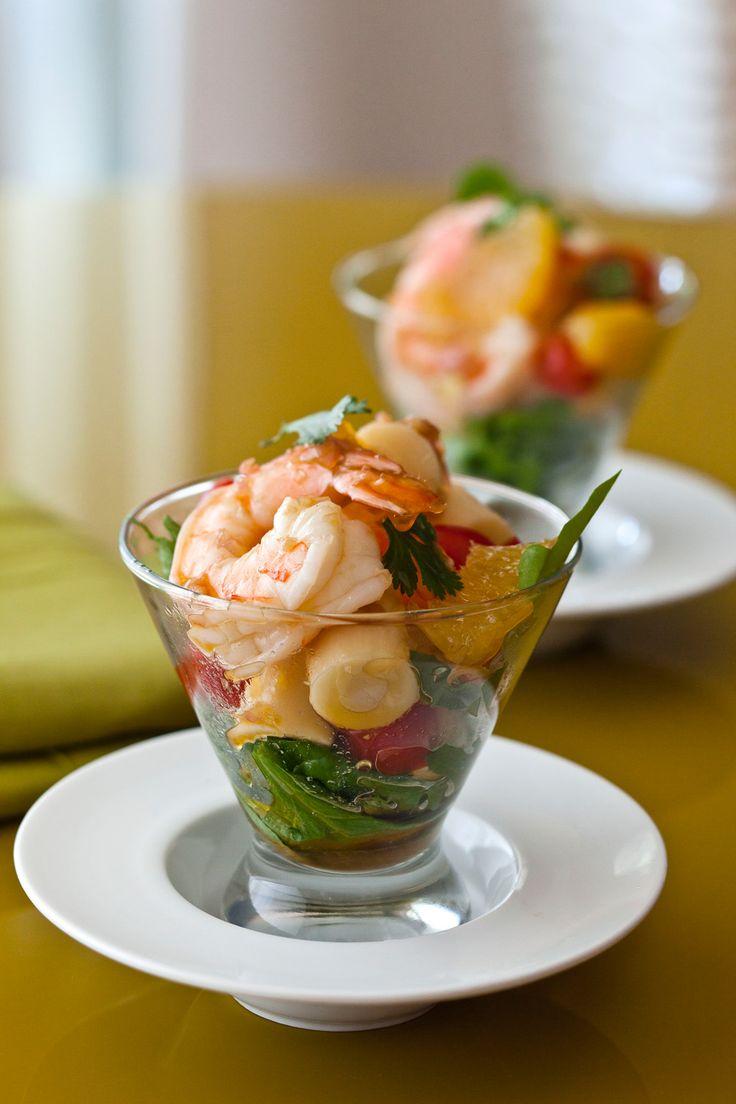 Tropical Sesame Shrimp Martini appetizers for a Bond-themed evening.