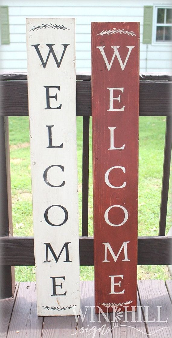 Vertical Wooden Welcome Sign - Front Door - Front Porch Decor - Hand-Painted - Outdoor Sign