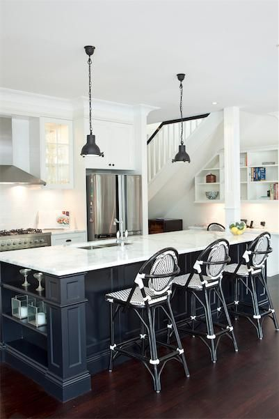 Eat-in kitchen layout idea #11: Charcoal grey and silver accents. Kitchens Inspiration - Porchlight Interiors - Australia | hipages.com.au