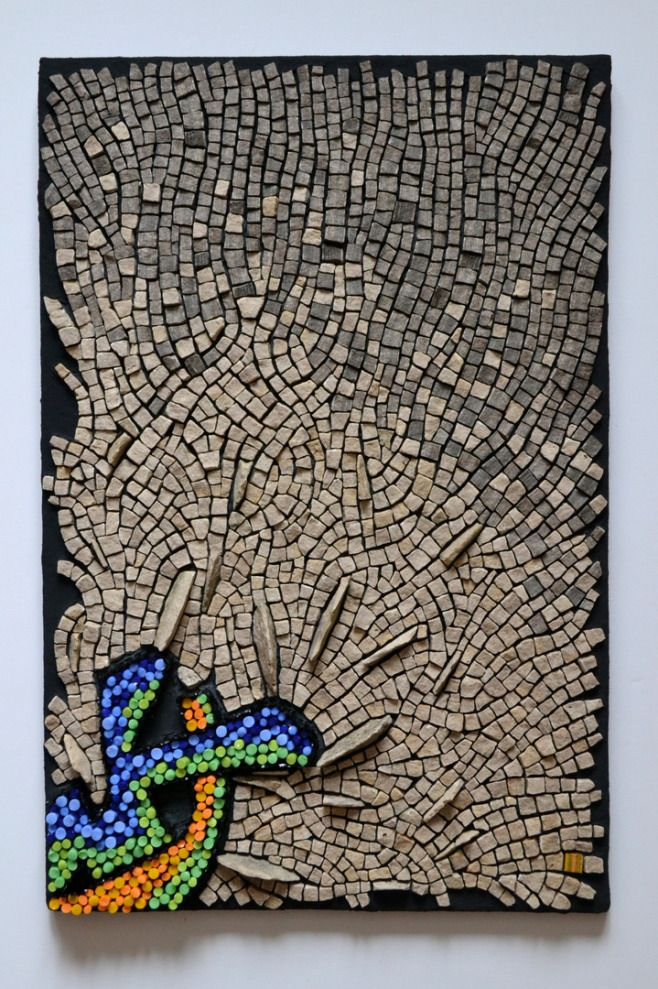 """Punctuated Equilibrium II"" #mosaic by Julie Sperling (2014, 18"" x 12"", glass rods, local stone, skateboard)"