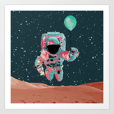 Cosmo Astro II Art Print by Jacek Muda  #print #design #illustration #vector #cosmic #astronaut #cosmonaut #balloon #fly