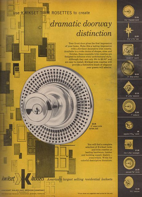 Full page ad for fabulous entry door handles and escutcheons by KwikSet