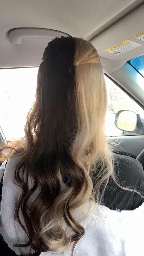 Half And Half Hair In 2020 Brown Blonde Hair Split Dyed Hair Dark Brown Hair Dye
