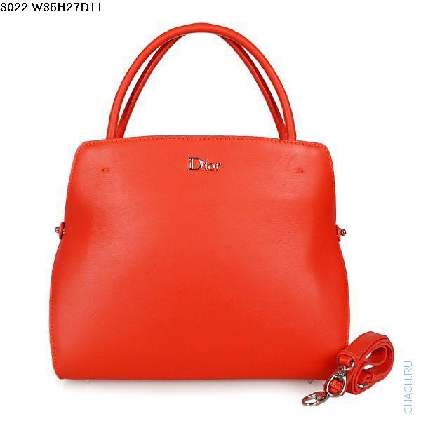 Женская сумка Dior из натуральной кожи красного цвета, с отстегивающимся наплечным ремешком