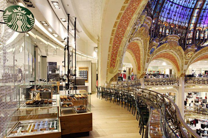 Starbucks store at Galeries Lafayette – La coupole, Paris