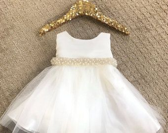 Girls Birthday Dress Baby Tulle White Baptism Vintage Lace Flower Girl First Ivory