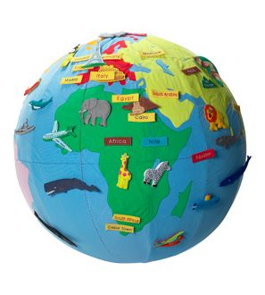 Super cute 3' inflatable globe with stick on animals, ships, names, etc.  I want one!