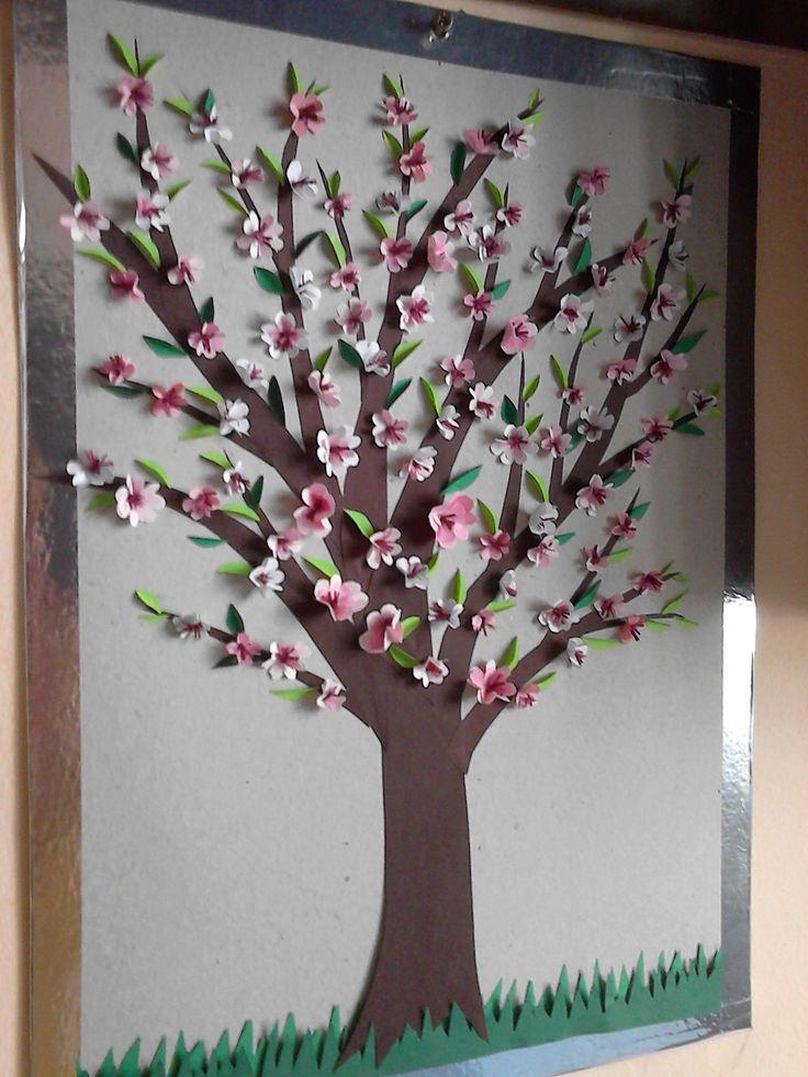 Copac flori roz - quilling 2017