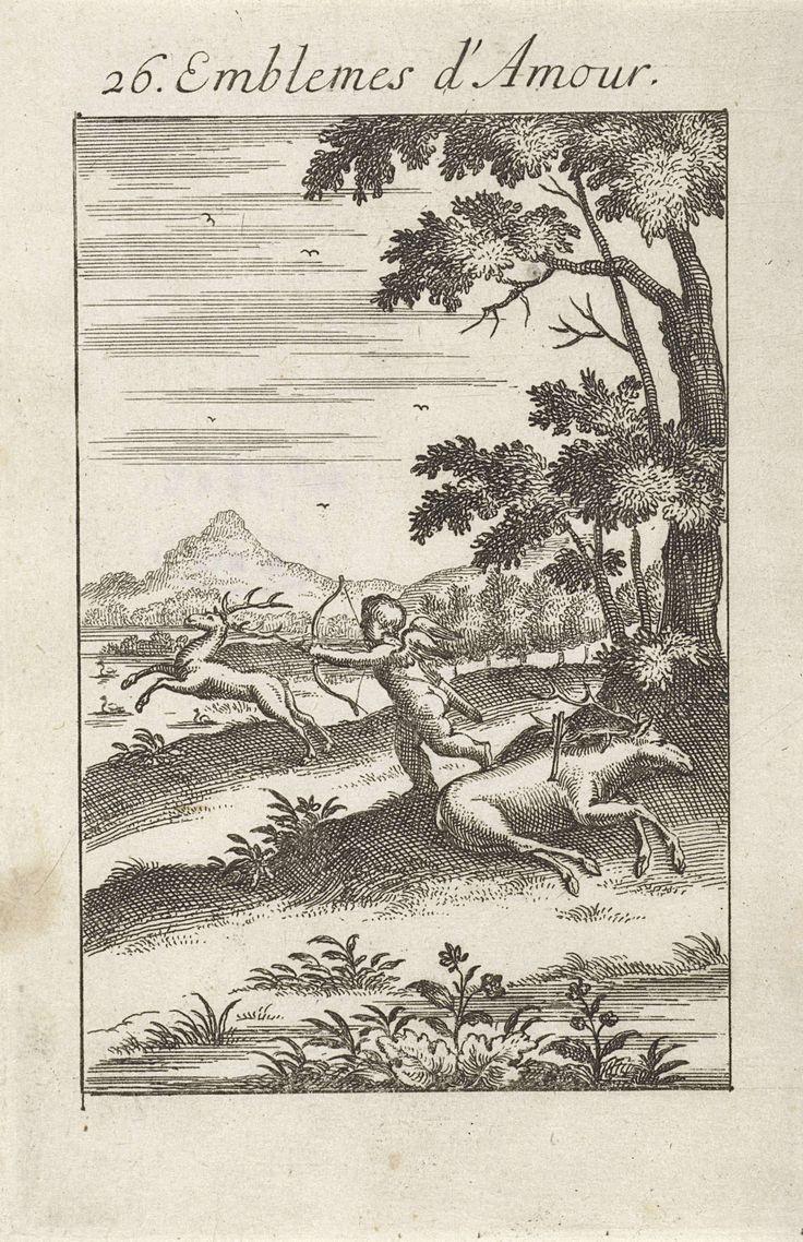 Jan van Vianen | Amor op hertenjacht, Jan van Vianen, 1686 | Amor heeft zijn pijl en boog gericht op een voorbij rennend hert. Op de voorgrond ligt een doodgeschoten hert. De liefde is slechts jagen en niet zoeken voor hen die niet van plan zijn te trouwen. Zesentwintigste embleem uit Emblemata Amatoria.