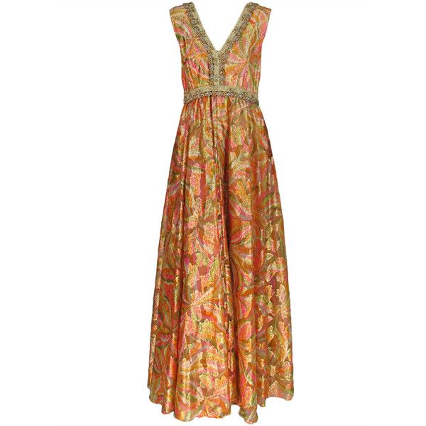 Malcolm Starr golden metallic maxi dress 1960s at 1stdibs ❤ liked on Polyvore featuring dresses, metallic dress, golden dress, maxi dress and metallic maxi dress