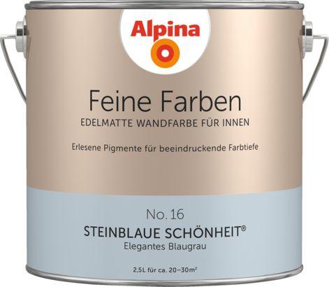 Premium-Wandfarbe. Blau, blaugrau: Alpina Feine Farben STEINBLAUE SCHÖNHEIT – Alpina Farben