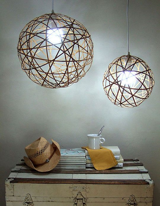 Bamboo Orb Lighting Made From Rolled Shade Undo The String And