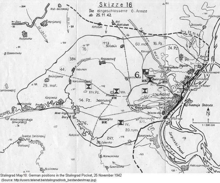 Stalingrad: German Positions in the pocket, 25 November 1942. This map shows the position of the German troops trapped in theStalingradPocket on 25 November 1942