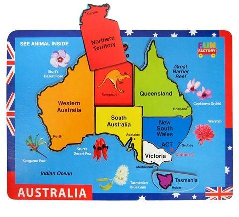 Australia Map Raised Wooden 7 Piece Puzzle by Fun Factory ~ Available at Kids Mega Mart Shop Australia