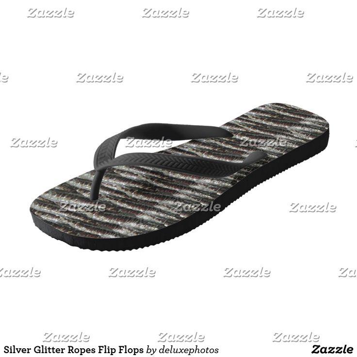Silver Glitter Ropes Flip Flops
