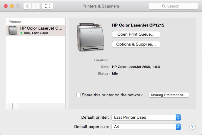 Setting Up HP Colour LaserJet CP1215 On Mac OS X