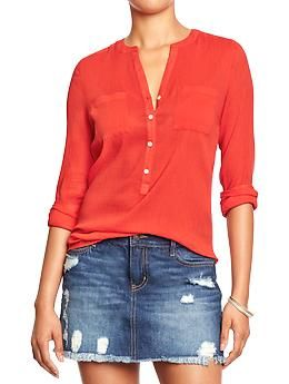Women's Long-Sleeved Gauze Shirts | Old Navy - $27; borderline too sheer but very light