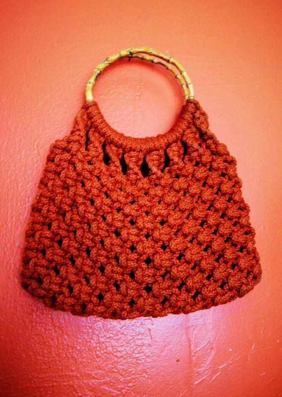 Vintage Large Orange Macrame Bag Simple Enough For