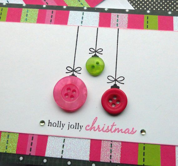 Button Ornament Card..: Christmas Cards, Card Idea, Cards Christmas, Holiday Cards, Button Ornaments, Button Cards, Christmas Ornament