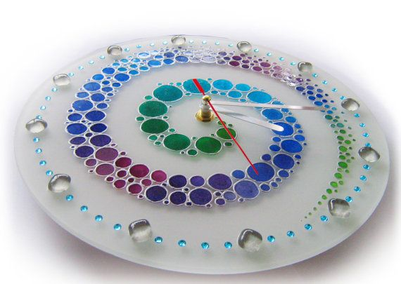 Glass Wall Clock Hand Painted wall clock colorful by ArwenFantasy
