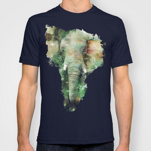 Watercolor Elephant T-shirt #elephant #animals #africa #wildlife #wild #green #yellow #splash #digitalart #society6 @Society6 #watercolor