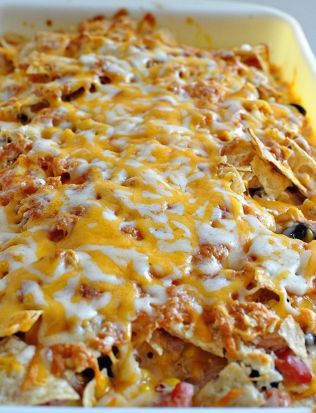 Southwest Chicken Bake. Cheese, homemade salsa, tortilla chips, black beans, onion, and more yummy ingredients.