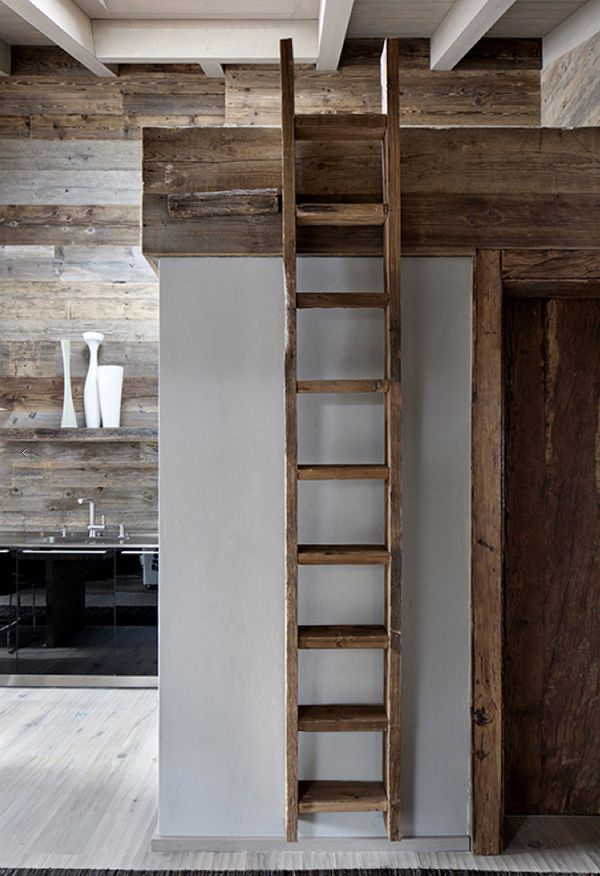 I'm loving this Swiss ski chalet with it's mix of old and new wood and emphasis on textures and materials designed by Marcel Wolterinck.