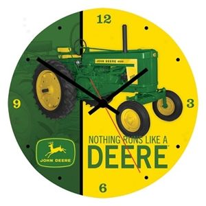 "13.5"" Cordless John Deere Wooden Wall Clocks 