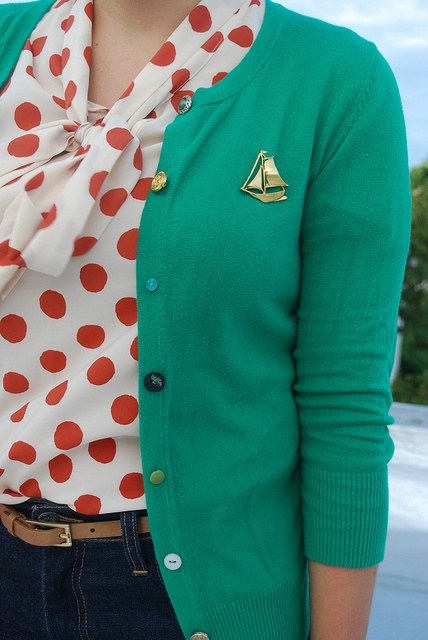 White and red polka tie neck blouse, teal cardigan and boat brooch.: Polka Dots Tops, Red Polka Dots Outfit, Color Combos, Clothing, Bows Blouses, Green Cardigans, Polka Dots Blouses, Boats Brooches, Red Dots
