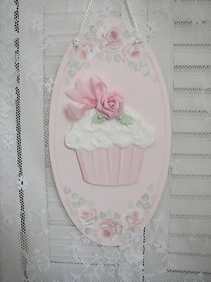 Fluffy Pink Cupcake with Pink Rosebuds and lace panel