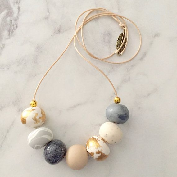 Handmade polymer clay beaded necklace