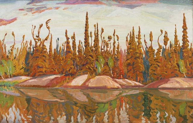 """Northern Lake,"" A.Y. Jackson, 1928, oil on canvas, 32.4 x 50.25"", National Gallery of Canada."
