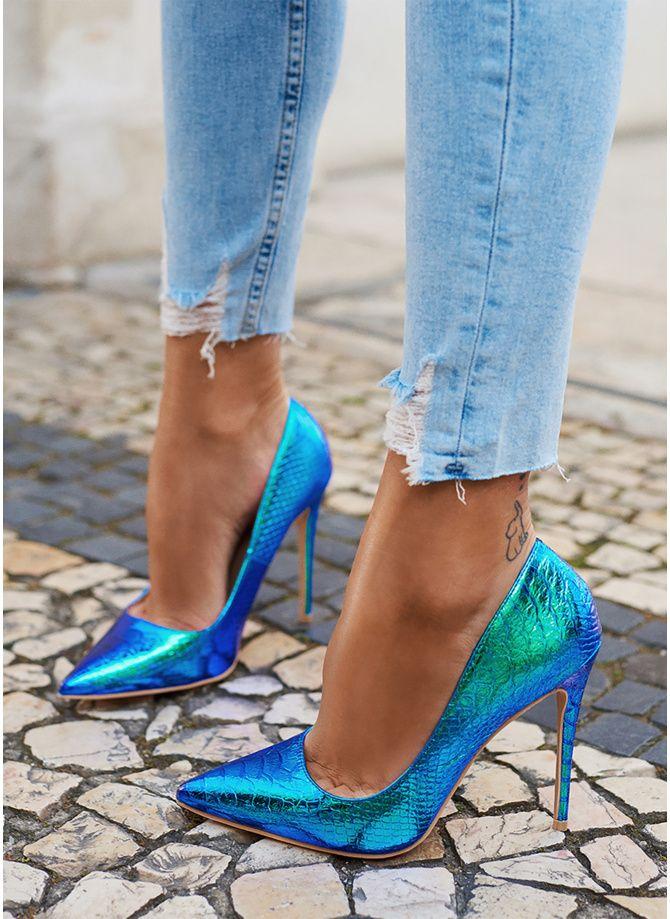 Deezee Niebieskie Szpilki Na Obcasie Holographic W Sklepie Deezee Pl Colorful Shoes Heels Heels Blue Shoes Women