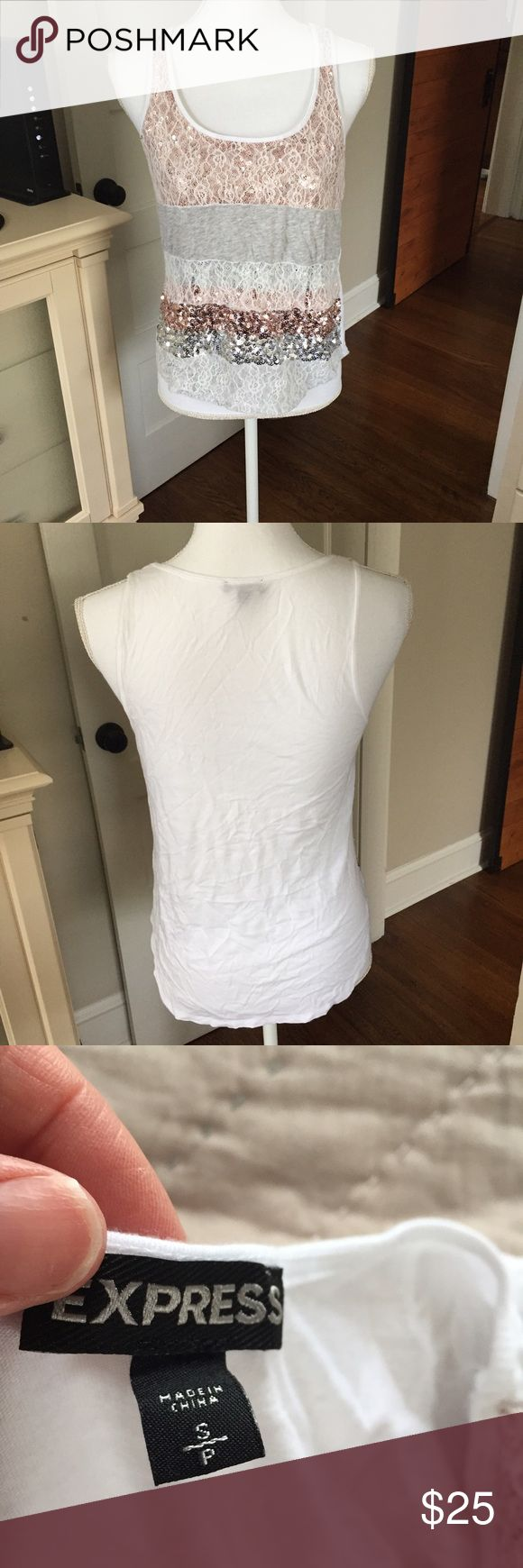 Express small sequins tank  final markdown-if my items do not sell tonight they are going back up in price tomorrow !! Express small sequins tank Express Tops